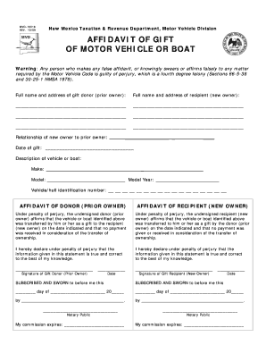 New Mexico Affidavit Of Gift - Fill Online, Printable, Fillable ...