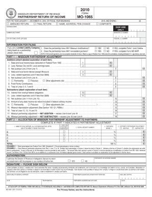 form 1065 pdf  Mo 10 Instructions - Fill Online, Printable, Fillable ...