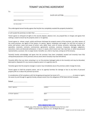 Tenant Vacating Agreement with Release. Eviction Notice