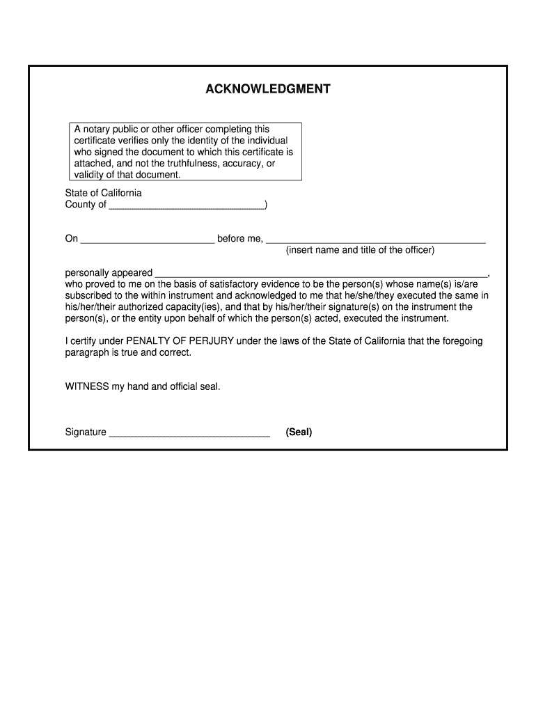 Ca Acknowledgment Complete Legal Document Online Us Legal Forms