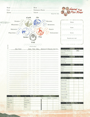 L5r Character Sheet - Fill Online, Printable, Fillable