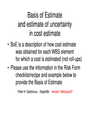 Basis of estimate example.