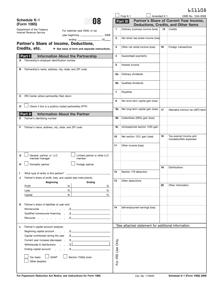 form 1065 line 20  122 Form IRS 122 - Schedule K-12 Fill Online, Printable ...