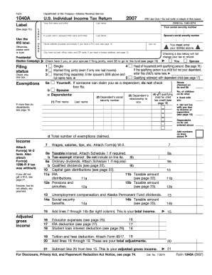 form 1040a for 2007 fill online, printable, fillable