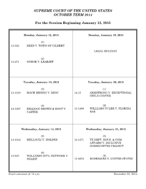 Monthly Argument Calendar January 2015 - supremecourt