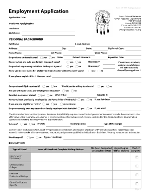 Form 14 - PTN Job Application