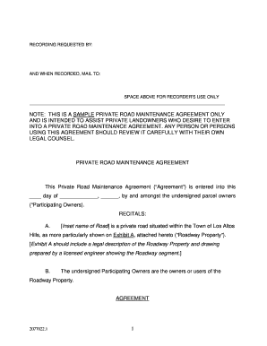 road maintenance agreement form Road Maintenance Agreement Form Template - Fill Online, Printable ...