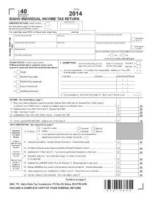 Fillable Online tax idaho 2014 Idaho Income Tax Form 40 Fax Email ...
