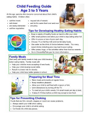 Child Feeding Guide Age 3 to 5 Years - chfs ky