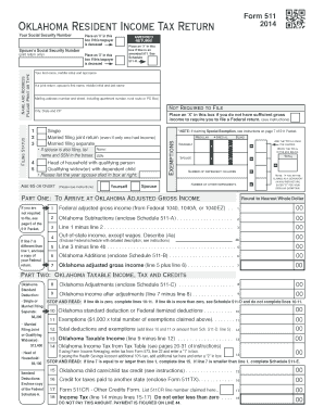 Fillable Online tax ok Form 511 income tax form Fax Email Print ...