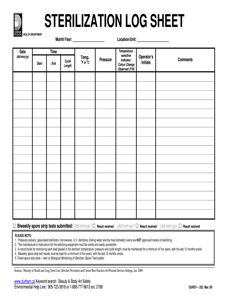 Sterilization Log - Fill Online, Printable, Fillable, Blank