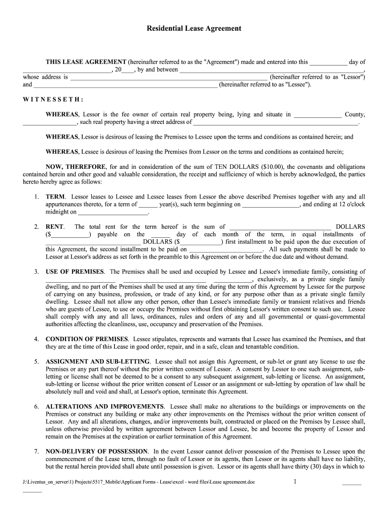 Residential Lease Agreement Fill Online Printable