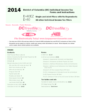 2014-2017 Form DC D-40EZ & D-40 Fill Online, Printable, Fillable ...