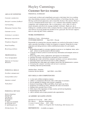 Customer service resume template - Fill, Print & Download Online ...