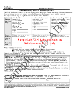 Fillable Online cms ABN Alternative Format Sample for Labs PDF ...