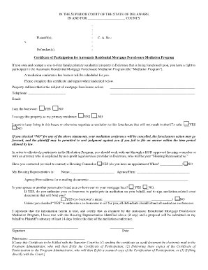 Certificate of Participation Form