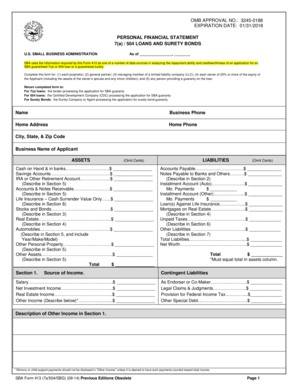 16 printable sba personal financial statement forms and. Black Bedroom Furniture Sets. Home Design Ideas
