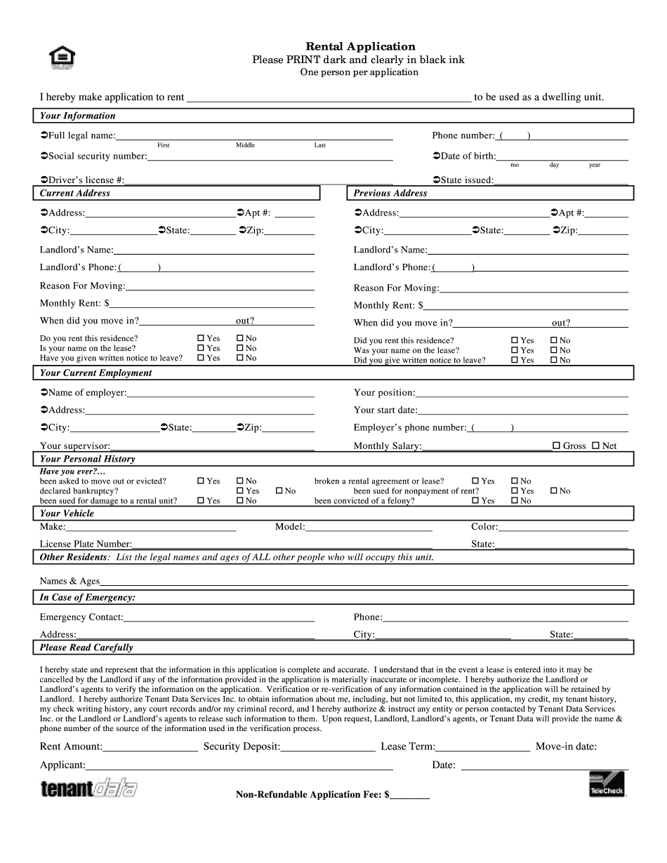 rental application form california
