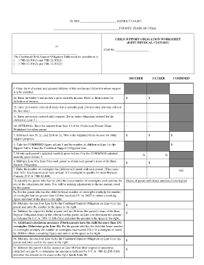 Printables. Child Support Worksheet Utah. Mywcct Thousands ...