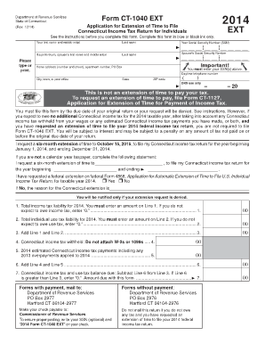 CT-1040 EXT, 2014 Application for Extension of Time to File ... - ct