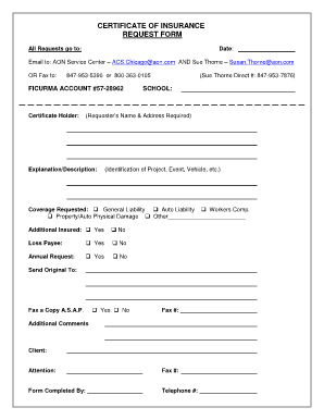 Insurance certificate for Certificate of insurance request form template