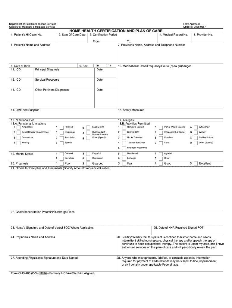Cms Calendar 2014-2019 2014 2019 Form CMS 485 (C3) Fill Online, Printable, Fillable
