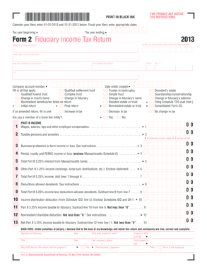 Fillable Online mass Fiduciary Income Tax Return (Form 2 ...