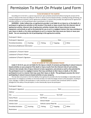 indiana hunting permission form fill online printable fillable blank pdffiller