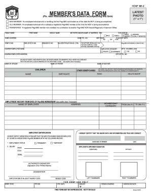 Member s Data Form (MDF)