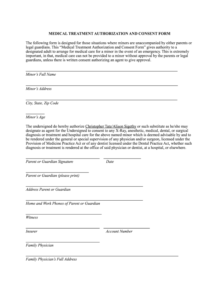 This is a picture of Free Printable Medical Consent Form for Minor Child pertaining to parental consent