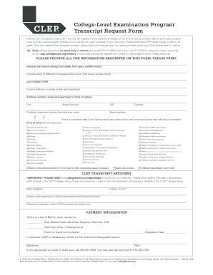CLEP Transcript Request Form Form Versions