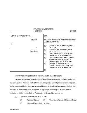 Fillable Online wsp wa Search Warrant for Blood (print, Revised 7/14