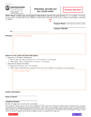 Personal Income Tax Fax Cover Sheet (DEX 93)