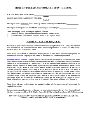 Jury Duty Excuse Letter For Primary Caregiver Sample from www.pdffiller.com