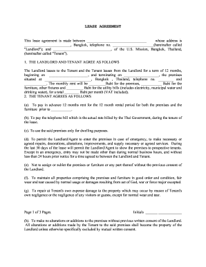 Printable House Rental Agreement Format In Word Thailand