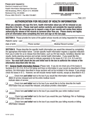 stanford hospital and clinics authorization for release of health information