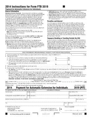 2014 Form 3519 -- Payment for Automatic Extension for Individuals - ftb ca