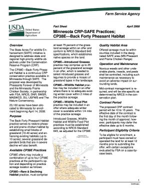 Fillable Online fsa usda Minnesota CRP-SAFE Practices; CP38E ...