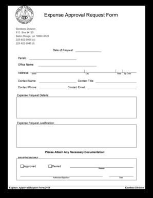 Fillable Online Sos La Expense Approval Request Form
