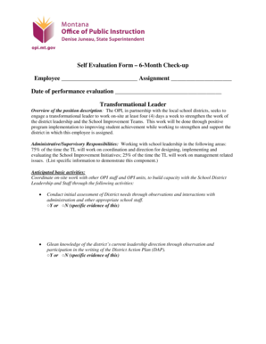 Self Evaluation Form 6-Month Check-up Employee Assignment ... - opi mt