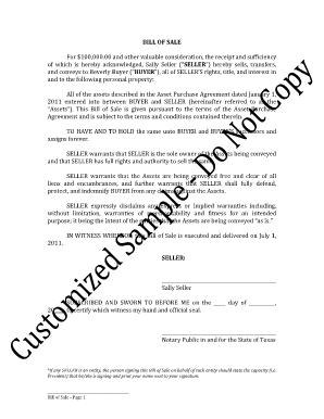 bill of sale fillable form