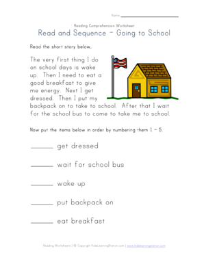 Fillable Online Read and Sequence - Going to School. Reading ...