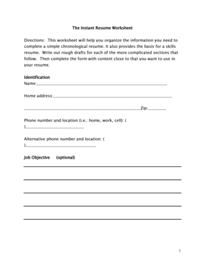 fillable online 1 the instant resume worksheet directions this