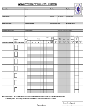 weekly payroll form - Certified Payroll Form