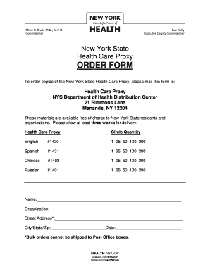 Bill Of Sale Form New York Health Care Proxy Form Templates ...