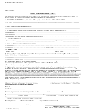 2012-2017 Form FL Notice of Commencement Fill Online, Printable ...