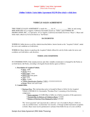 22 printable motor vehicle purchase agreement forms and templates