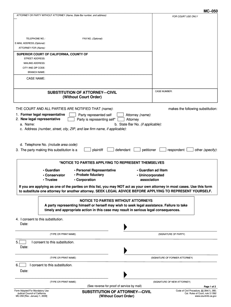 Substitution Of Attorney Form California Family Law - Fill