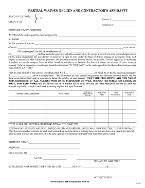 Fillable partial waiver of lien illinois download for Partial lien waiver template