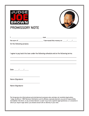 Judge Joe Brown Promissory Note  Printable Promissory Note